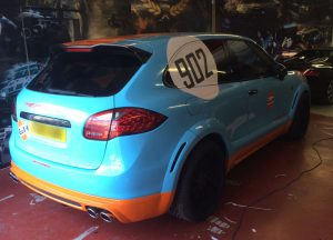 One off Cayenne coupe Gulf wrap for Good wood festival